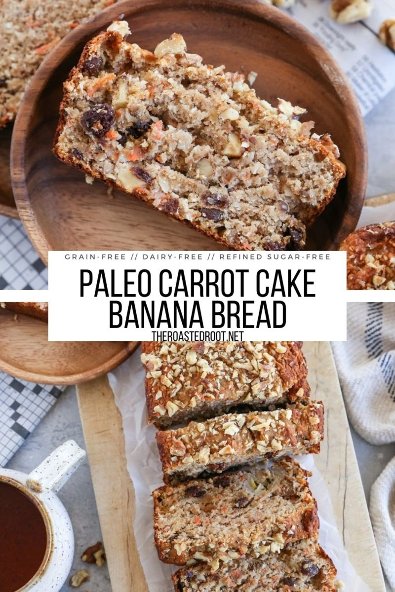 Grain-Free Paleo Carrot Cake Banana Bread is a perfect marriage of classic banana bread and carrot cake! Dairy-free, refined sugar-free, and healthy!