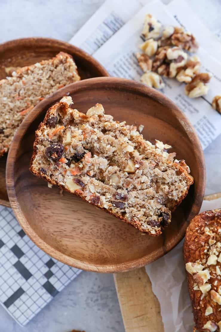 Paleo Carrot Cake Banana Bread - naturally sweetened, grain-free, and healthy. This gluten-free banana bread recipe is easily made in your blender