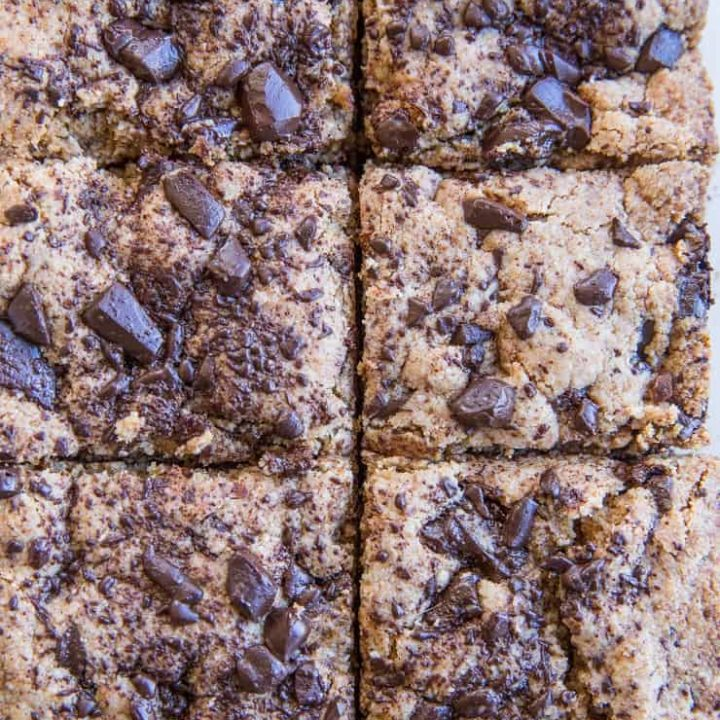 Chocolate Chip Paleo Blondies - grain-free, dairy-free, refined sugar-free blondies made with almond flour and coconut sugar. These delicious bars are vegan and healthier gluten-free, low sugar dessert option.