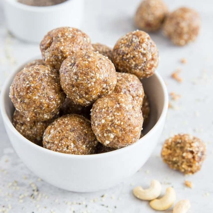 Fig and Date balls made with raw cashews, chia seeds, and hemp seeds. A healthy vegan and paleo snack
