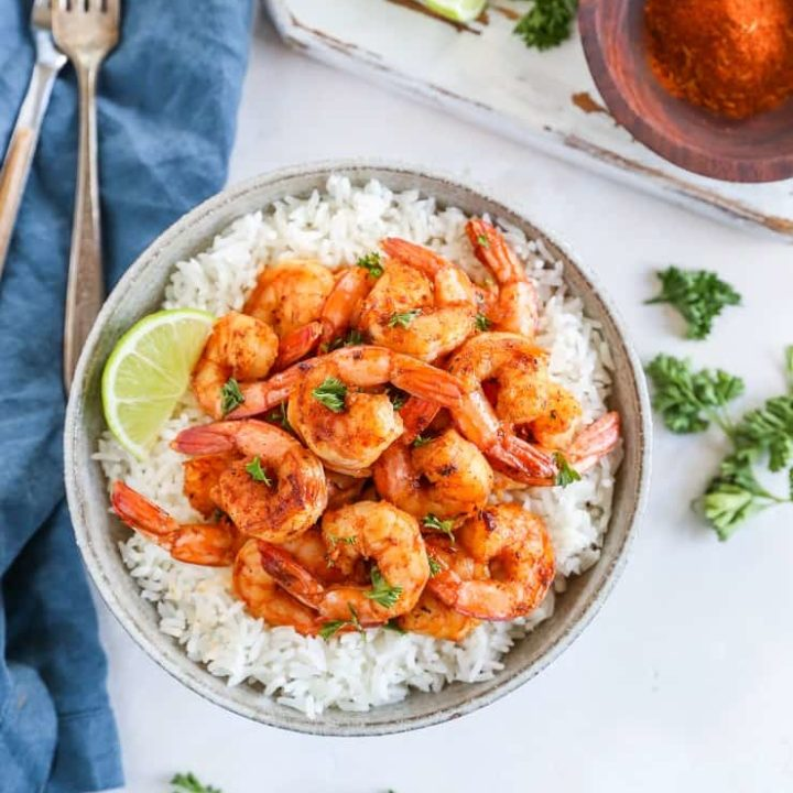 Easy Cajun Shrimp - a quick and easy shrimp recipe that only requires a few ingredients and hardly any time to prepare for an easy dinner.