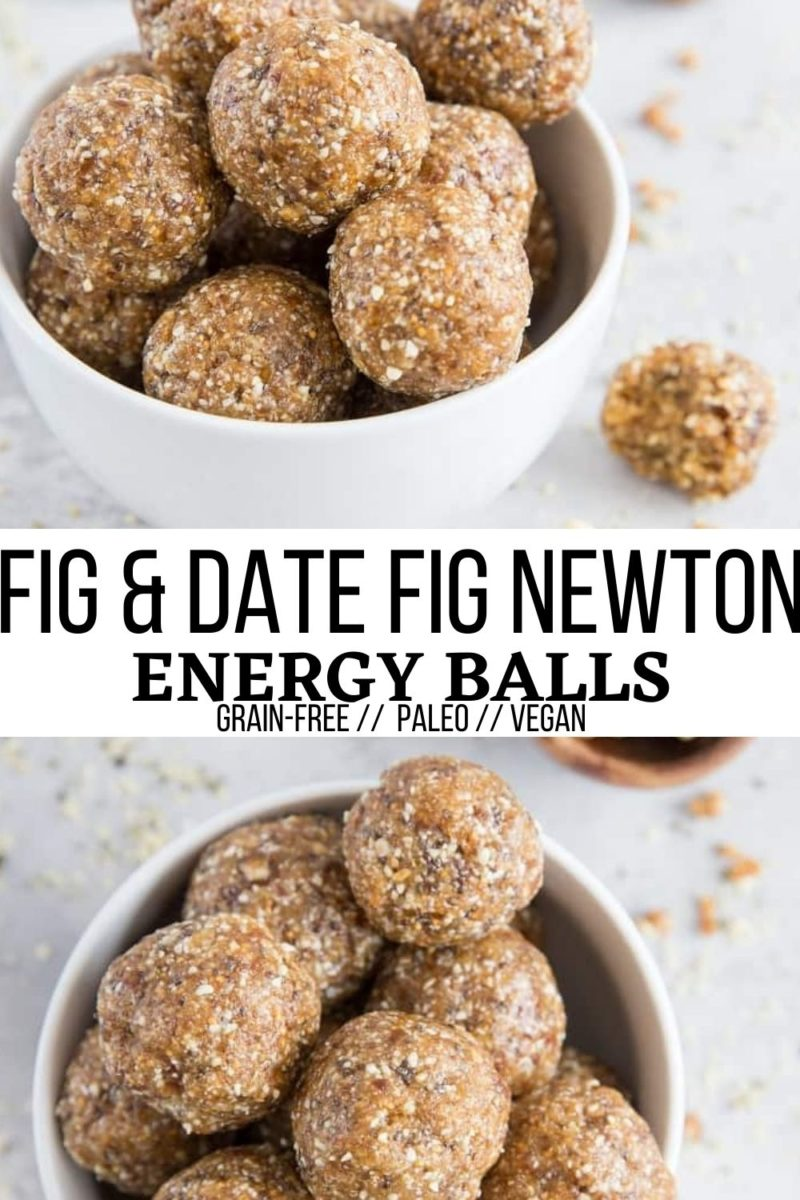 Fig, Date, and Cashew Energy Balls that taste just like a fig newton! Vegan, paleo, grain-free healthy snack recipe
