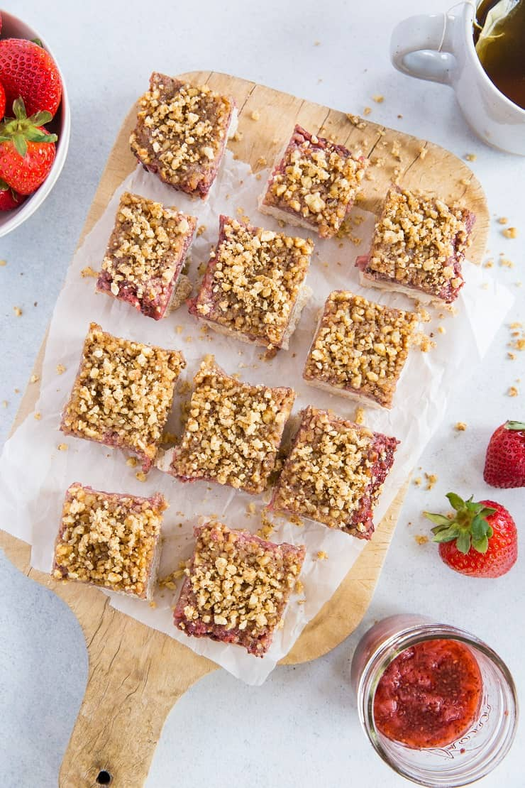 Gluten-Free Vegan Strawberry Crumb Bars (with a grain-free paleo option)