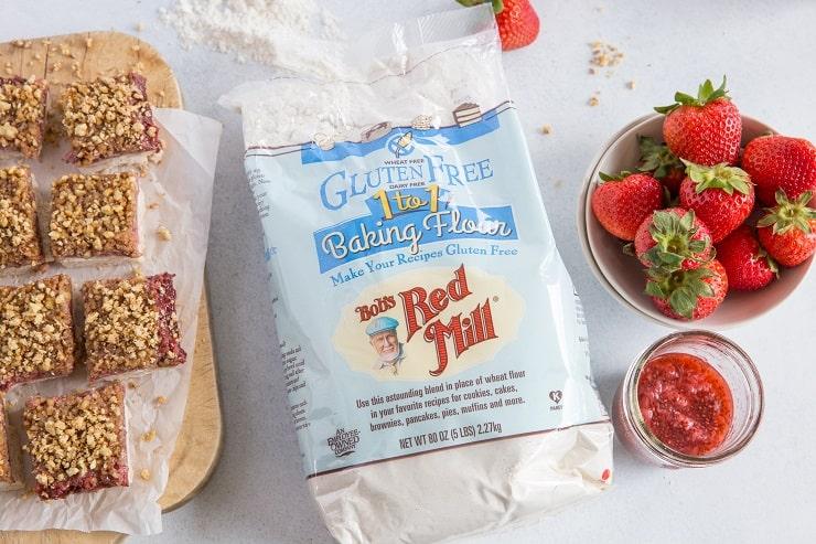 gluten-free strawberry crumb bars