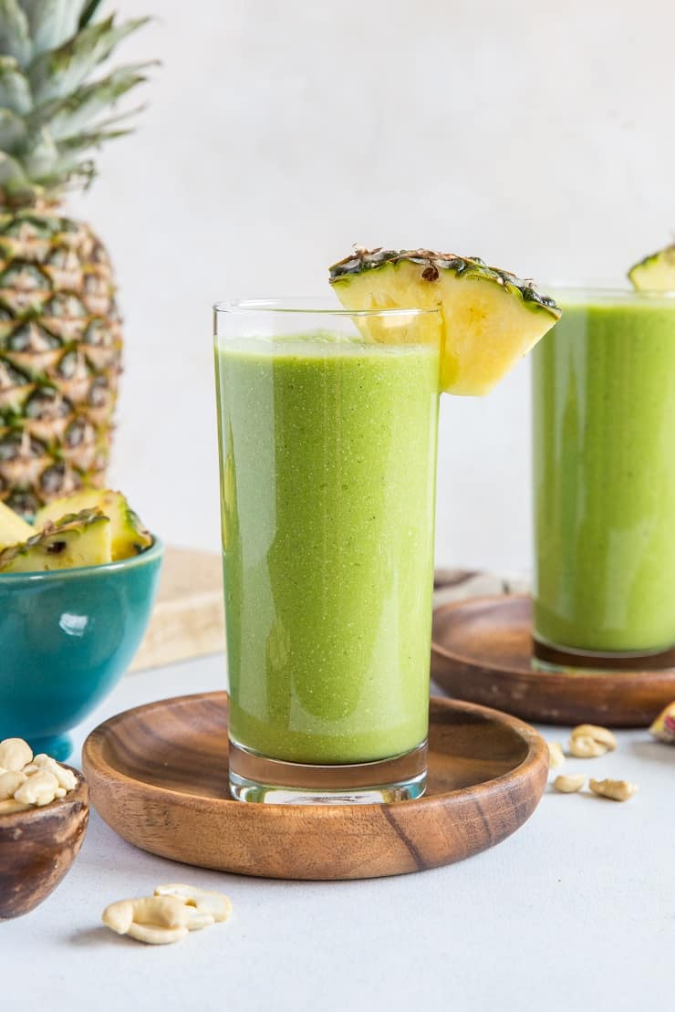 Pineapple Green Protein Smoothie - made banana-free with steamed cauliflower and packed with plant-based protein for a healthy breakfast