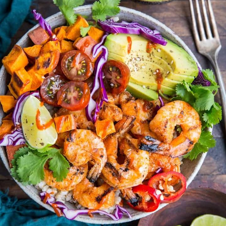 BBQ Shirmp and Sweet Potato Bowls with avocado are a healthful and delicious meal for grilling season