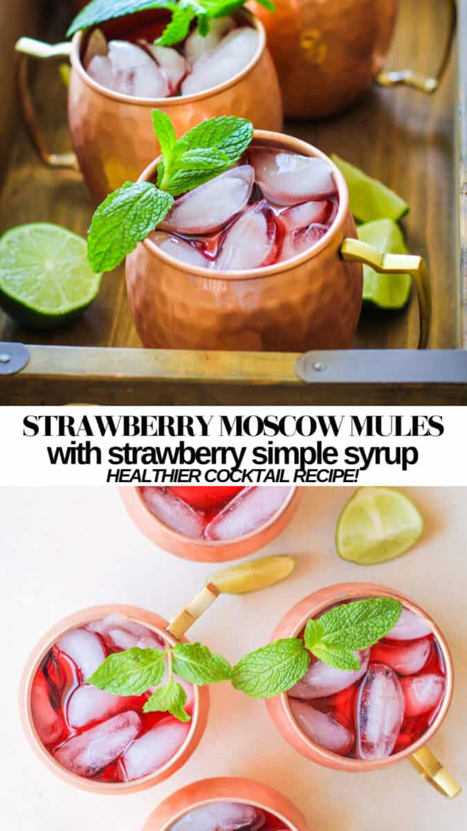 Strawberry Moscow Mules - a fresh, unique take on classic Moscow Mules - easy to prepare and skinny cocktail recipe