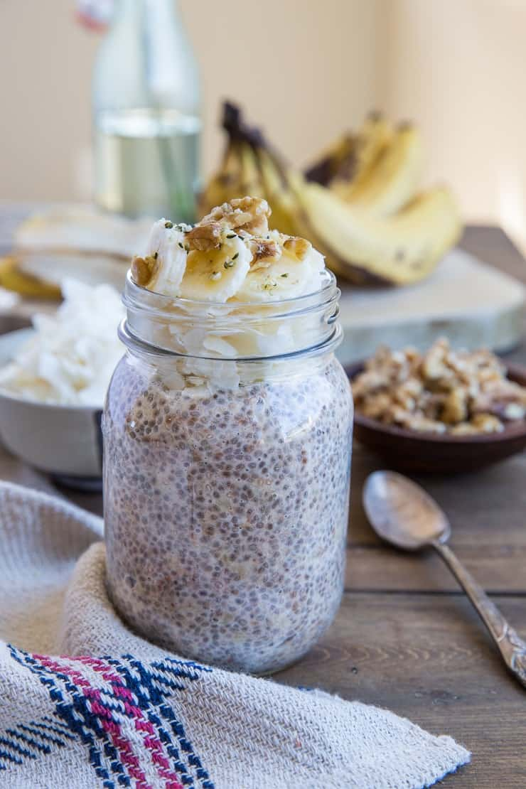 Banana Bread Chia Pudding - a healthy no-cook breakfast recipe that's dairy-free, vegan, paleo, and only requires a few minutes of prep
