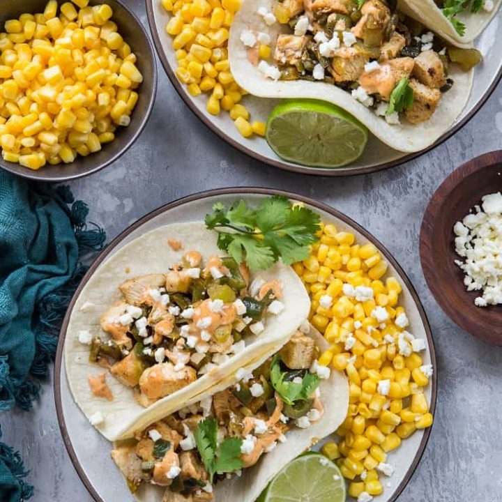 Green Chili Chicken Tacos with Mexican Street Corn - a flavorful festive healthy fresh gluten-free meal
