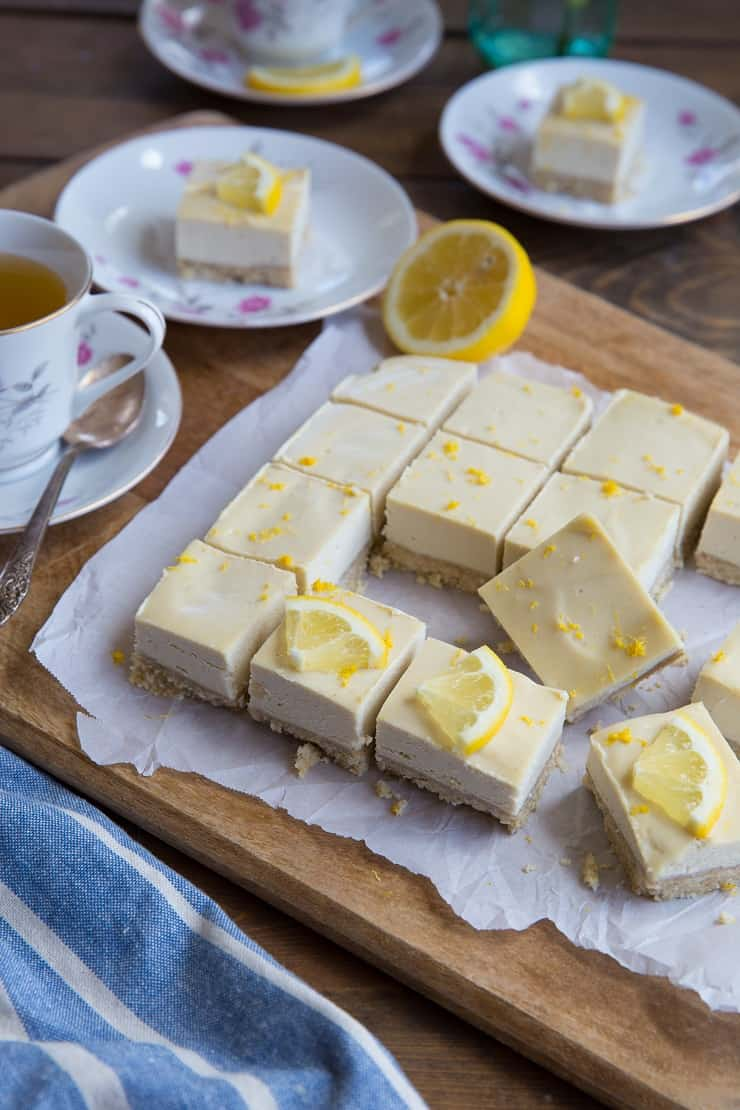No-Bake Paleo Lemon Bars made with cashews and pure maple syrup with a walnut crust - vegan, grain-free, dairy-free, and healthier than classic lemon bars
