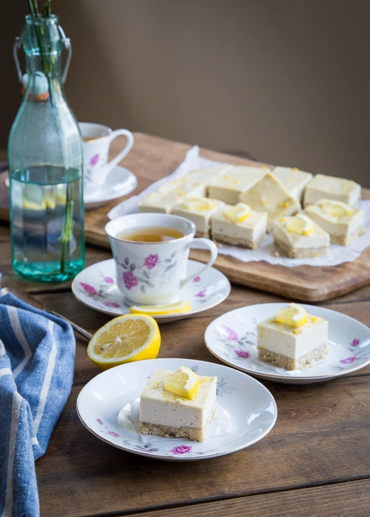 No-Bake Paleo Lemon Bars made with cashews, pure maple syrup, and a walnut crust. Vegan, grain-free, refined sugar-free