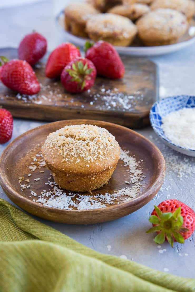 Paleo Strawberry Muffins made with almond flour and coconut sugar. These healthy muffins are grain-free, dairy free, and refined sugar-free