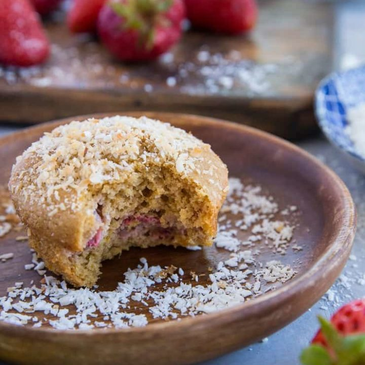 Paleo Strawberry Muffins - grain-free, dairy-free strawberry muffins made with almond flour - a healthy take on muffins
