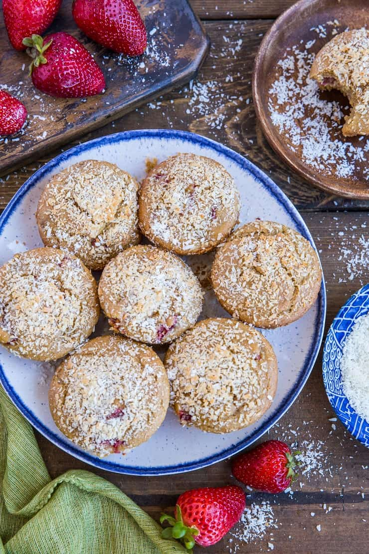 Paleo Strawberry Muffins made with almond flour and coconut sugar. A healthy grain-free, dairy free muffin recipe