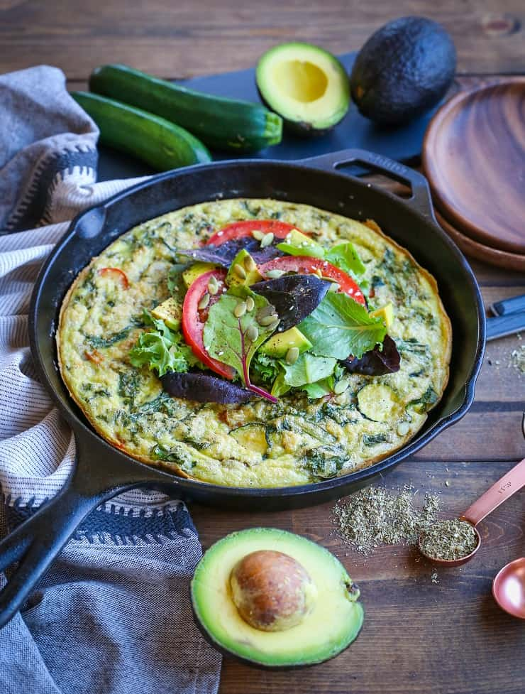 Summer Vegetable Avocado Frittata - a nutritious healthy breakfast recipe with tons of vegetables and avocado