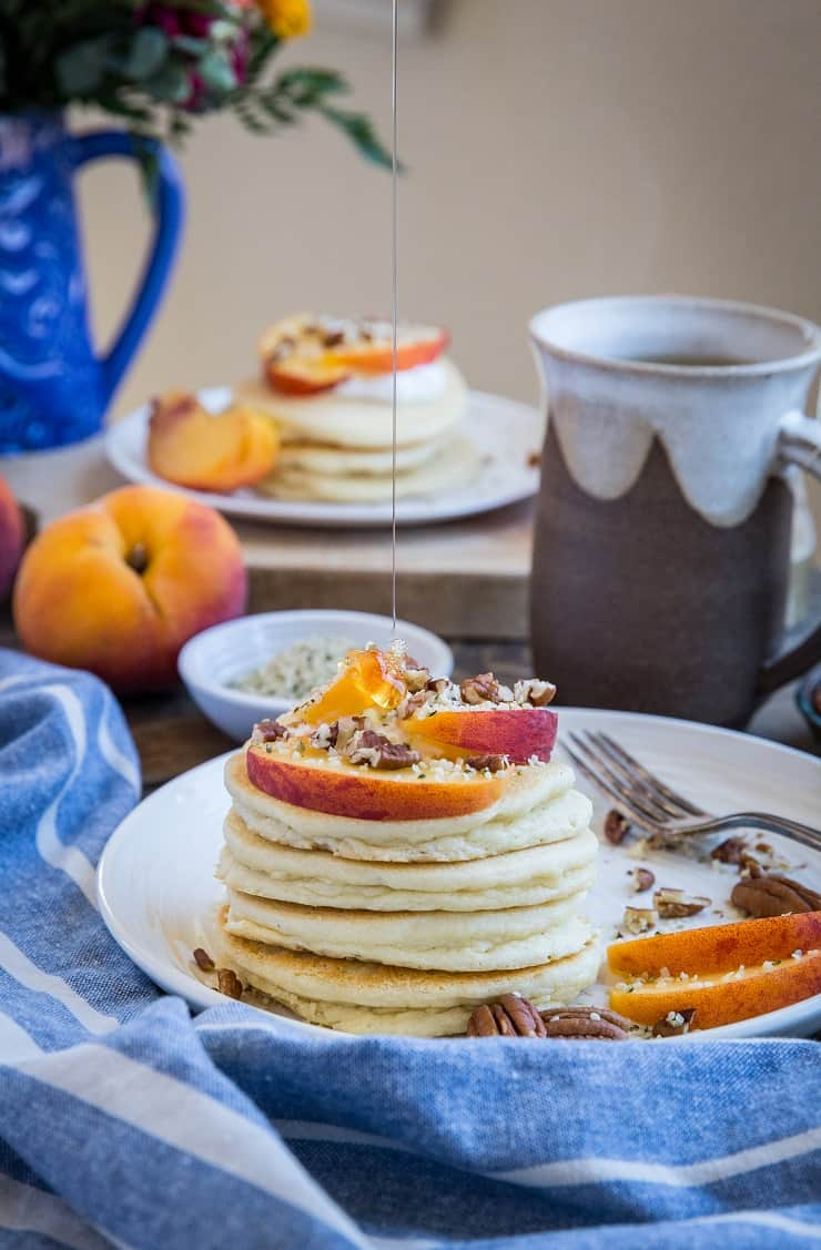 """Buttermilk"" Paleo Pancakes - grain-free and dairy-free pancakes made with homemade non-dairy buttermilk. A delicious and comforting healthy breakfast"