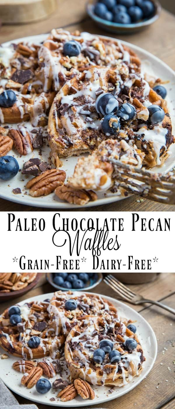 Paleo Chocolate Pecan Waffles with almond butter and coconut butter | TheRoastedRoot.com #paleo #healthy #breakfast