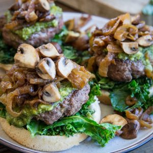 Pesto Burgers with Caramelized Onions and Mushrooms - a delicious, unique hamburger for BBQ season