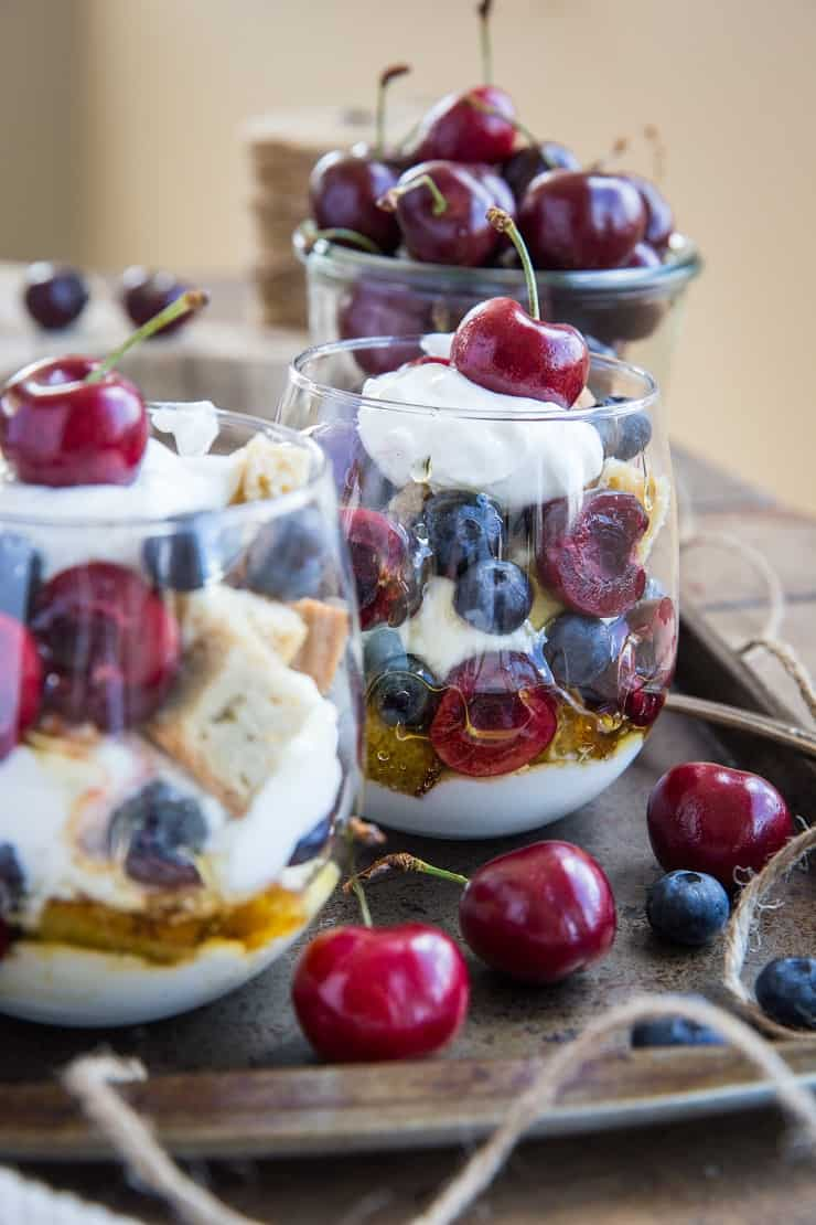 Red, White, and Blue Pound Cake Parfaits - paleo, dairy-free, refined sugar-free, delicious