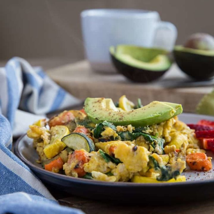 Roasted Vegetable Scramble - an easy, nutritious take on breakfast. Serve it up with avocado and fresh fruit for a well-balanced, delicious breakfast.