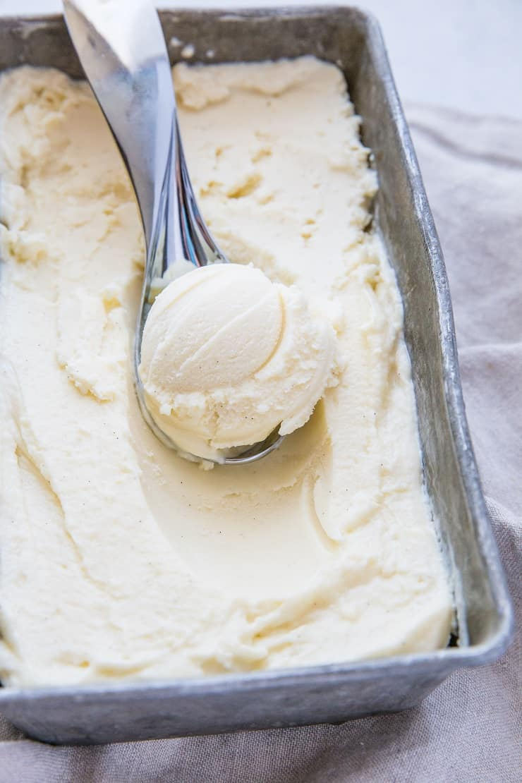 Vanilla Keto Ice Cream - low-carb ice cream made with zero carbs and sugar! This insanely creamy ice cream is better than store-bought and you'd never know it's sugar-free.