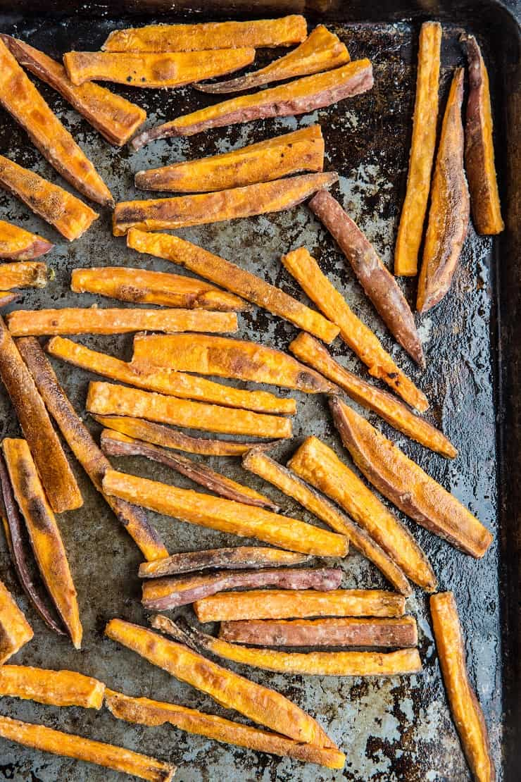 Crispy Baked Sweet Potato Fries | TheRoastedRoot.com
