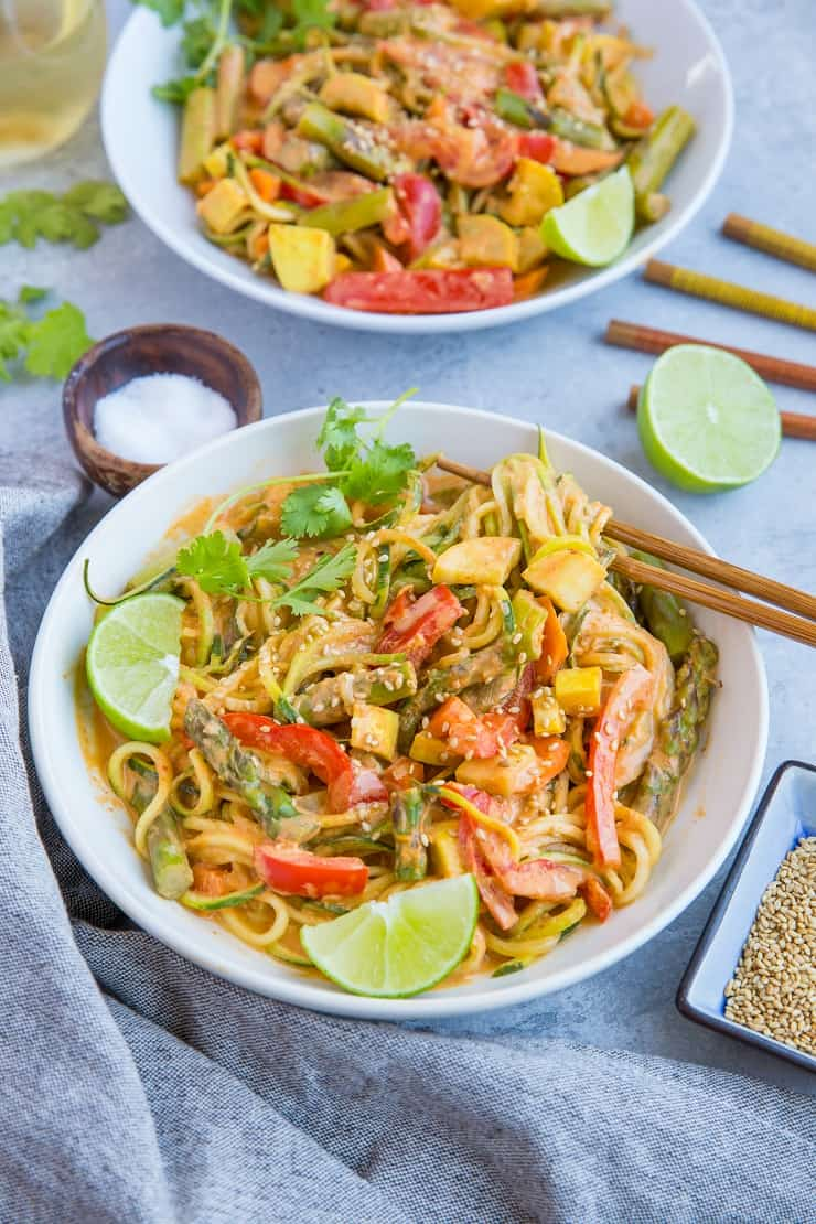 Vegan Red Curry Zucchini Noodle Bowls (low-carb, paleo, keto) } TheRoastedRoot.net - a healthy, gluten-free dinner recipe