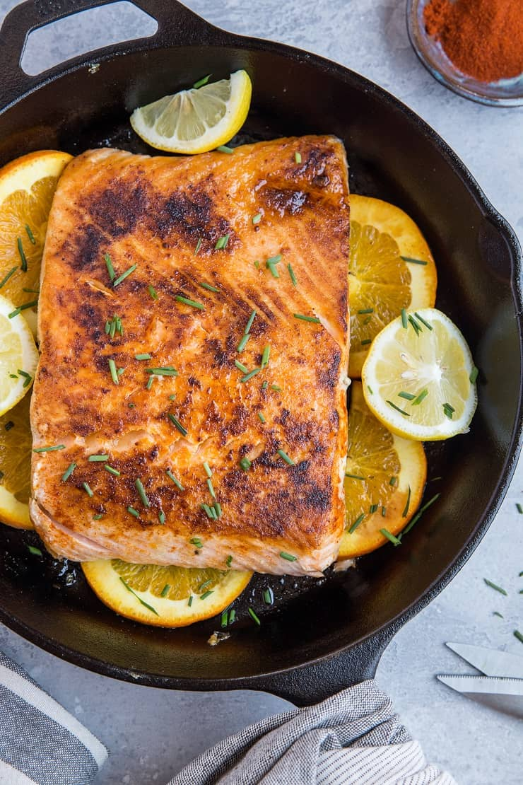 Orange Butter Lemon Salmon - an easy low-carb, paleo, keto dinner recipe that only takes about 30 minutes to make.