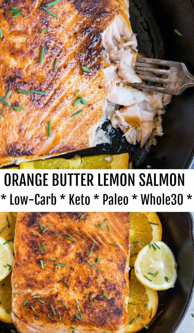 Keto Orange Butter Lemon Salmon - an easy low-carb, paleo, keto dinner recipe that only takes about 30 minutes to make.