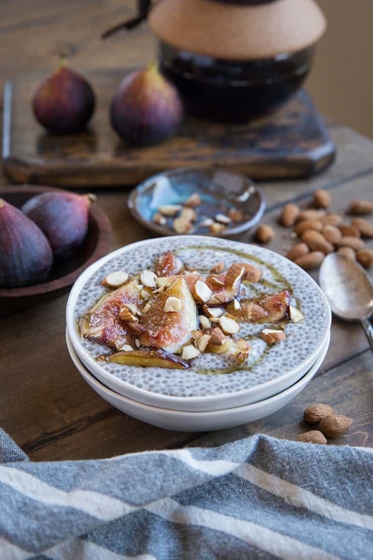 Maple Chia Pudding with Maple-Caramelized Figs - an easy, delicious, healthy vegan dessert recipe that is paleo friendly | TheRoastedRoot.net