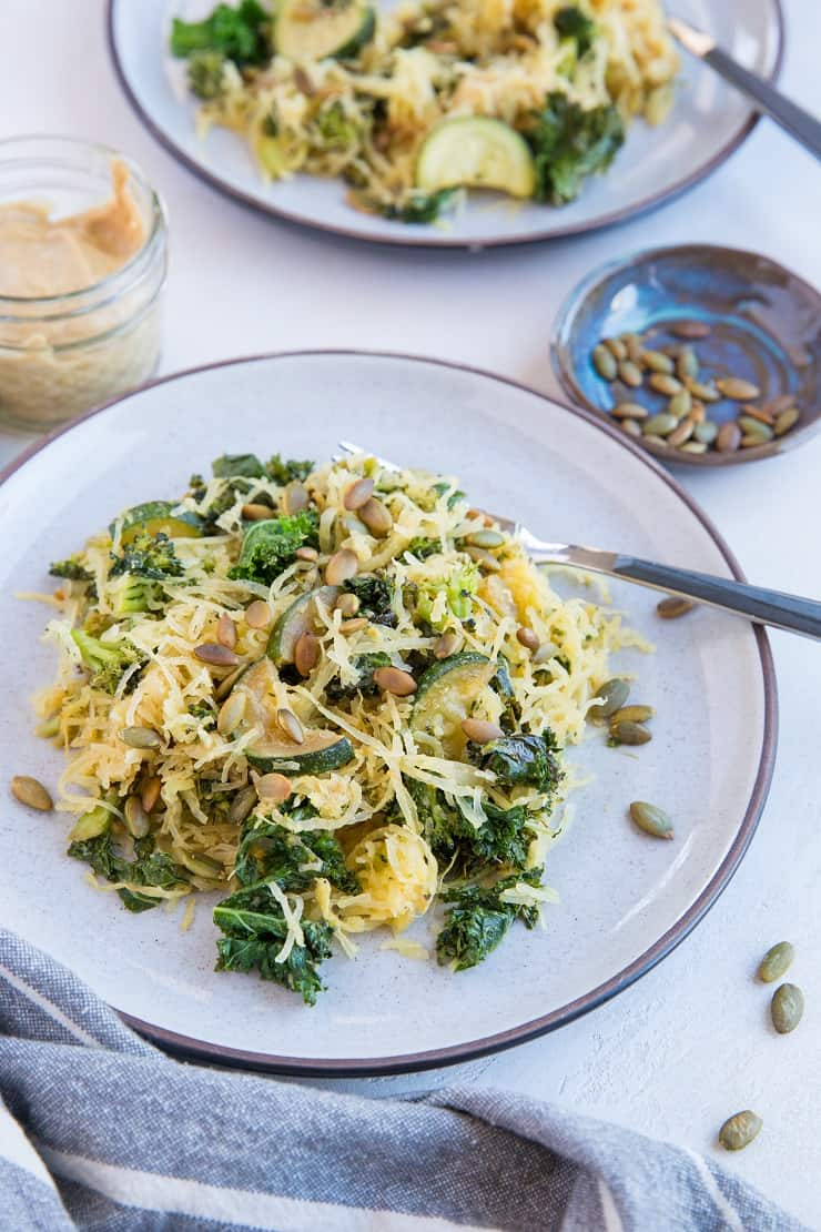 Creamy Tahini Spaghetti Squash with kale, zucchini and broccoli - a healthy paleo, vegan meal