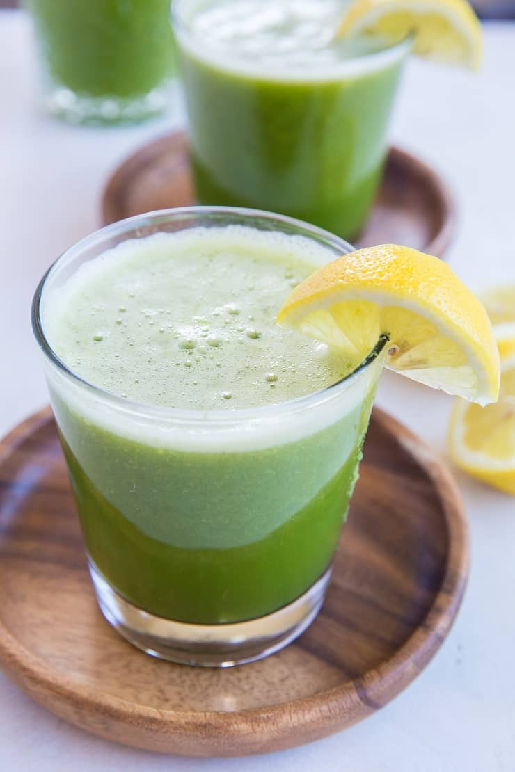 Happy Digestion Celery Juice - home-juiced celery juice with cucumber, orange and lemon for the ultimate healthy gut elixir. | TheRoastedRoot.net #greenjuice #detox #vegan