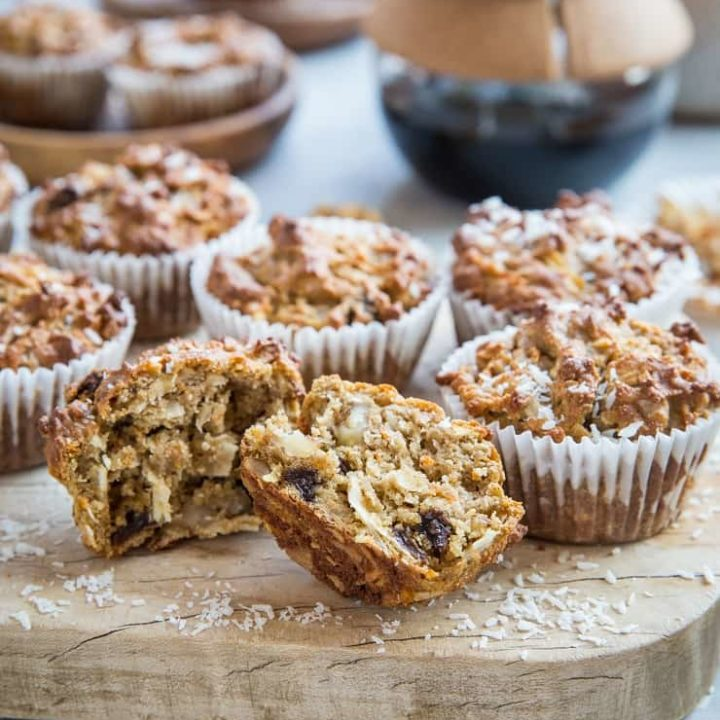 Grain-Free Morning Glory Muffins made with almond flour and coconut sugar. These healthy muffins are a great breakfast or snack. | TheRoastedRoot.com #glutenfree