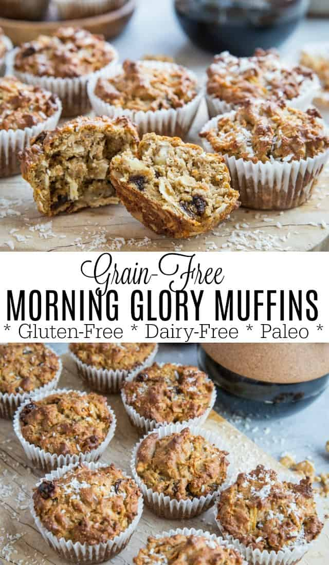 Paleo Grain-Free Morning Glory Muffins made with almond flour and coconut sugar. These healthy muffins are a great breakfast or snack. | TheRoastedRoot.com #glutenfree