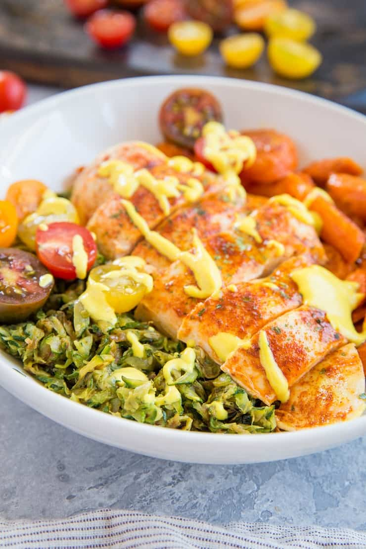 "Whole30 Orange-Marinated Chicken Bowls with Zucchini ""Rice"" and Roasted Carrots - a nutritious low-carb, keto, Low-FODMAP paleo dinner recipe that's easy to make any night of the week! 