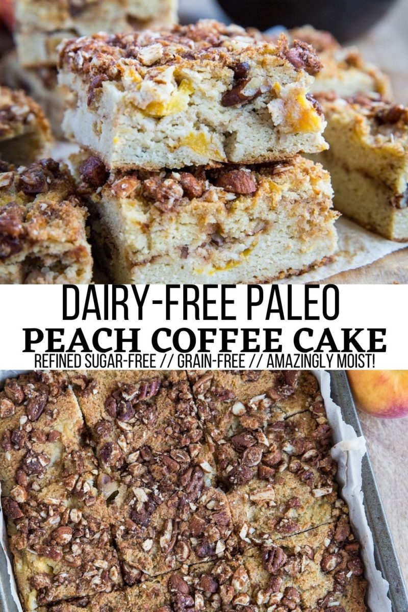 Paleo Peach Coffee Cake Recipe - grain-free, refined sugar-free, dairy-free, insanely moist and perfectly sweet! A delicious, healthier take on classic coffee cake.