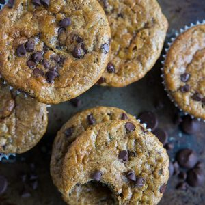 Grain-Free Paleo Chocolate Chip Zucchini Muffins - made grain-free with almond flour and refined sugar-free with pure maple syrup and banana, dairy-free and healthy   TheRoastedRoot.com   Made easily in your blender #glutenfree