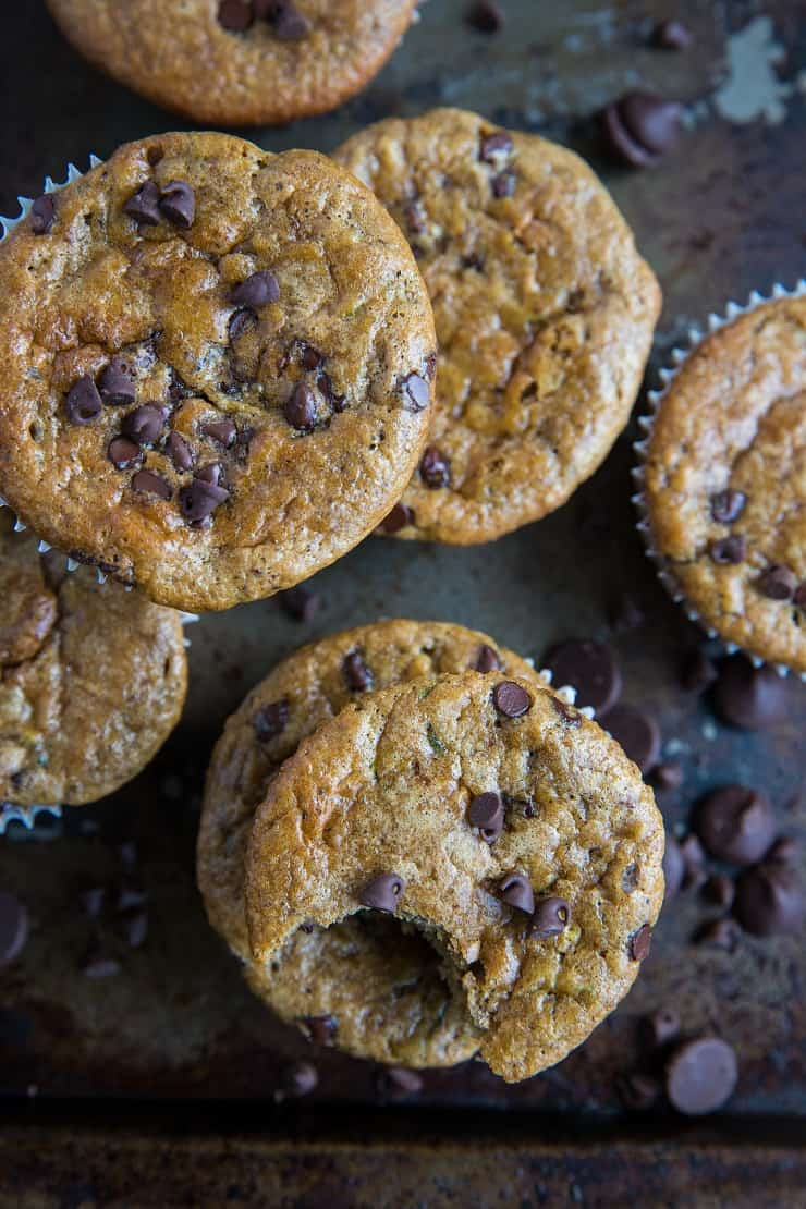 Grain-Free Paleo Chocolate Chip Zucchini Muffins - made grain-free with almond flour and refined sugar-free with pure maple syrup and banana, dairy-free and healthy | TheRoastedRoot.com | Made easily in your blender #glutenfree