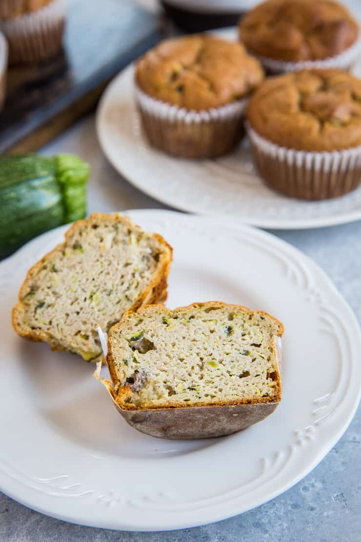 Paleo Zucchini Muffins - grain-free, dairy-free, and healthy! Made easily in your blender. | TheRoastedRoot.net #glutenfree