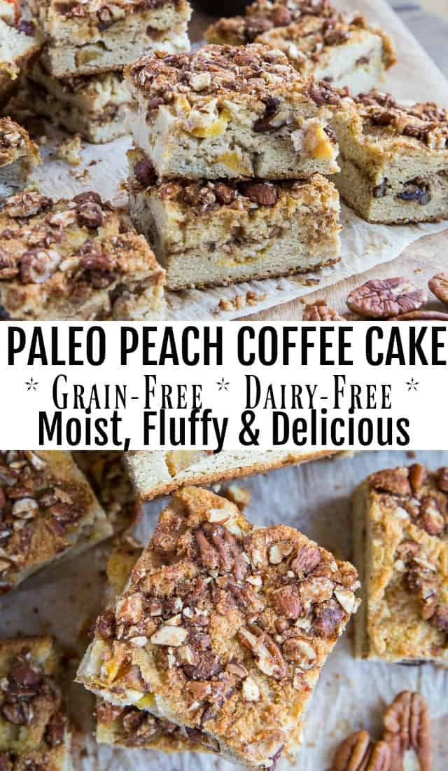 Paleo Peach Coffee Cake - grain-free, dairy-free, refined sugar-free and healthy! This easy recipe is prepared in a blender. #glutenfree #breakfastrecipe | TheRoastedRoot.com
