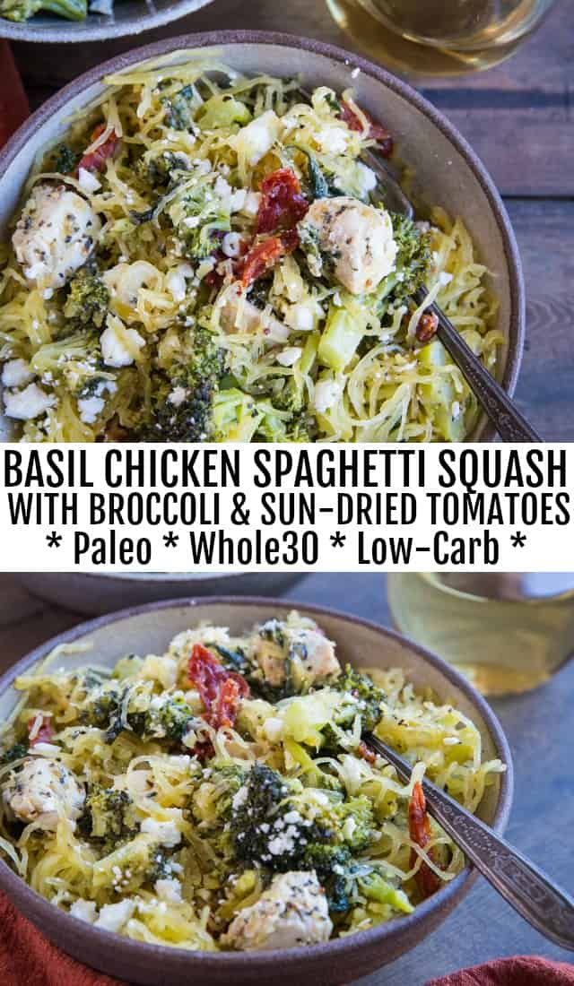 Basil Chicken Spaghetti Squash with Broccoli, Sun-Dried Tomatoes, Spinach, and Feta - an easy paleo, whole30 dinner recipe that is comforting yet clean