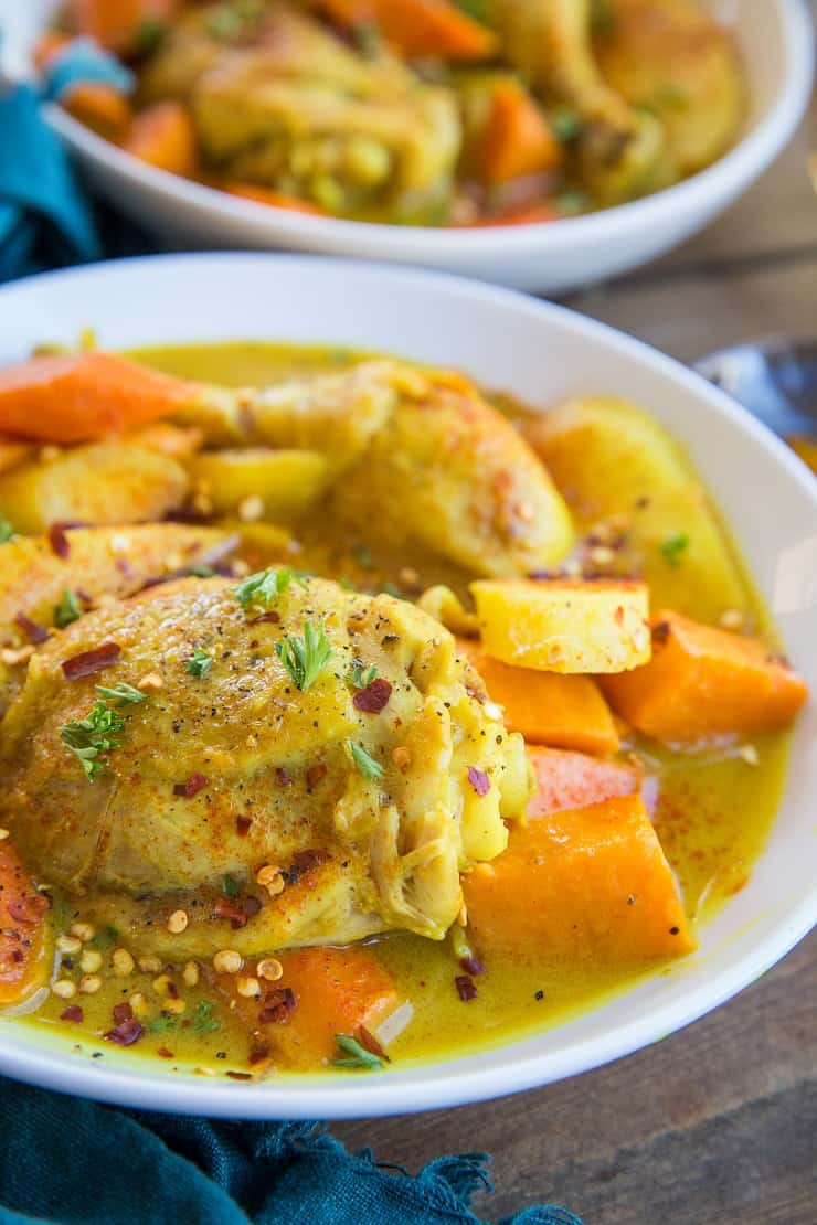 Instant Pot Turmeric Chicken with Carrots, Parsnips, and Sweet Potatoes - a clean and healthy meal perfect for any night of the week