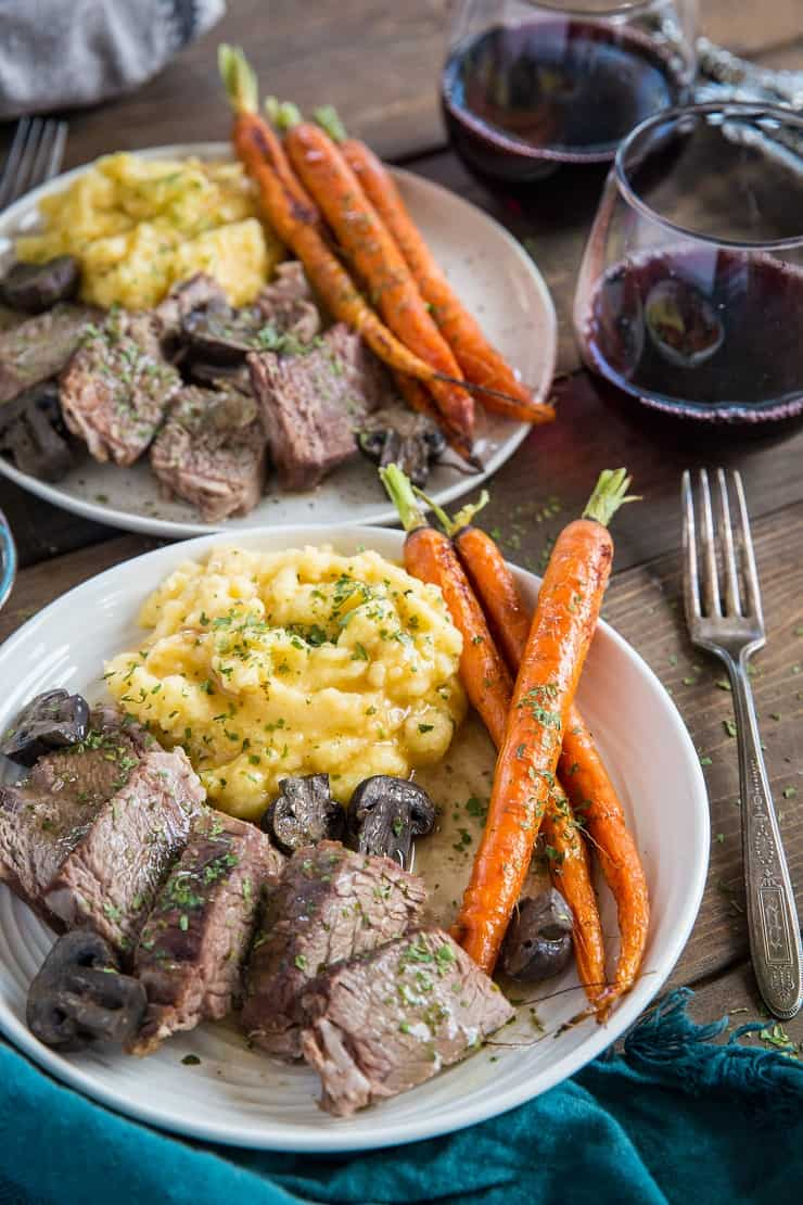 Slow Cooker Bison Roast with Mashed Rutabaga and Gravy, and Roasted Carrots - this sexy Paleo meal is perfect for date night.