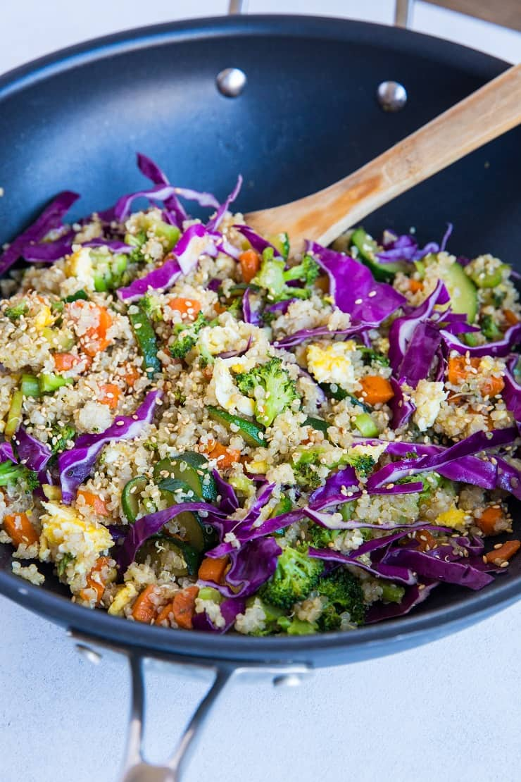"Vegetable Quinoa Fried ""Rice"" - a healthy take on fried rice loaded with fresh vegetables for the protein-conscious vegetarian"