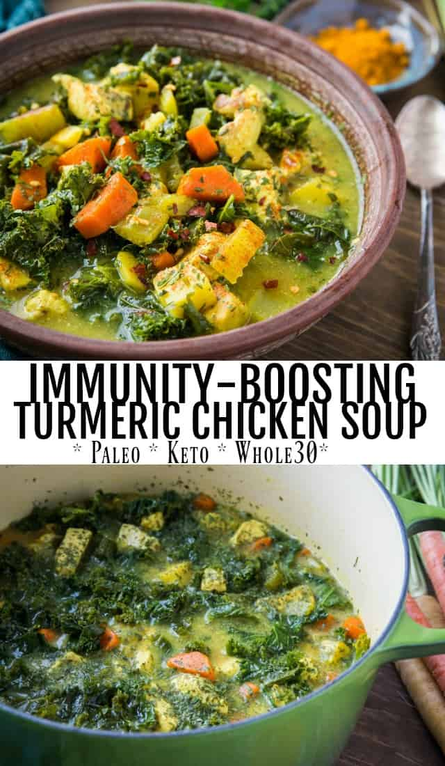 Immunity-Boosting Turmeric Chicken Soup with carrots, parsnips, parsley, ginger, and bone broth - a powerhouse meal that is paleo, whole30, and keto. | TheRoastedRoot.com #glutenfree #healthy #paleo