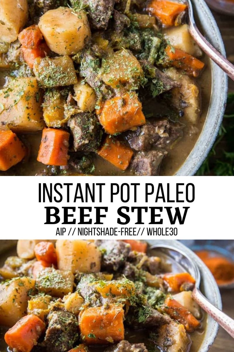 Instant Pot Paleo Beef Stew with slow cooker instructions - gluten-free, nightshade-free, AIP, and paleo!