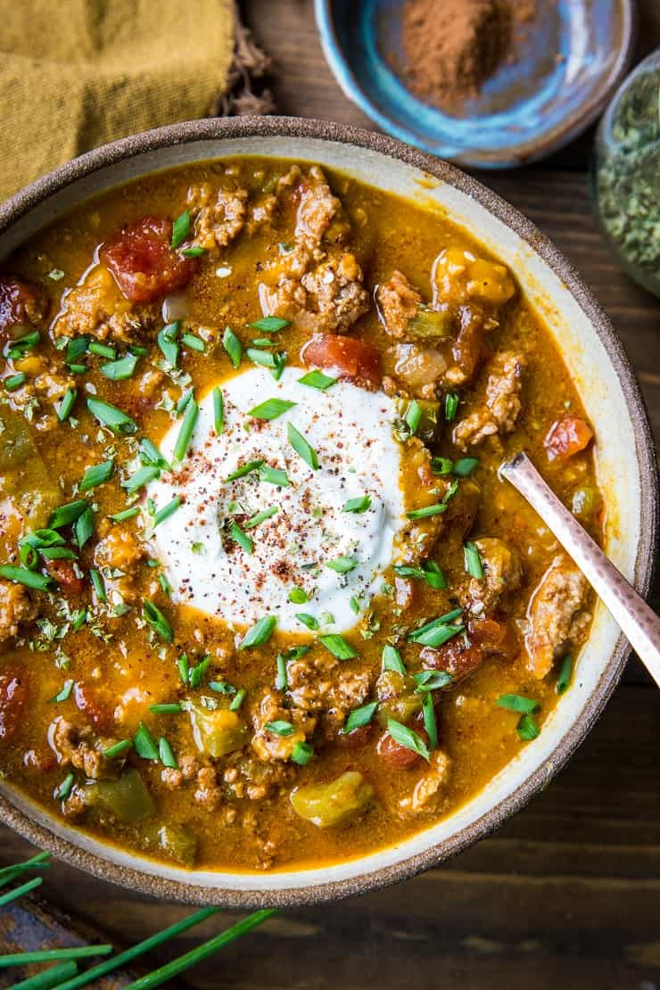 Instant Pot Paleo Pumpkin Chili - quick, easy, flavorful healthy chili perfect for the fall months. | TheRoastedRoot.net #paleo #primal #instantpot