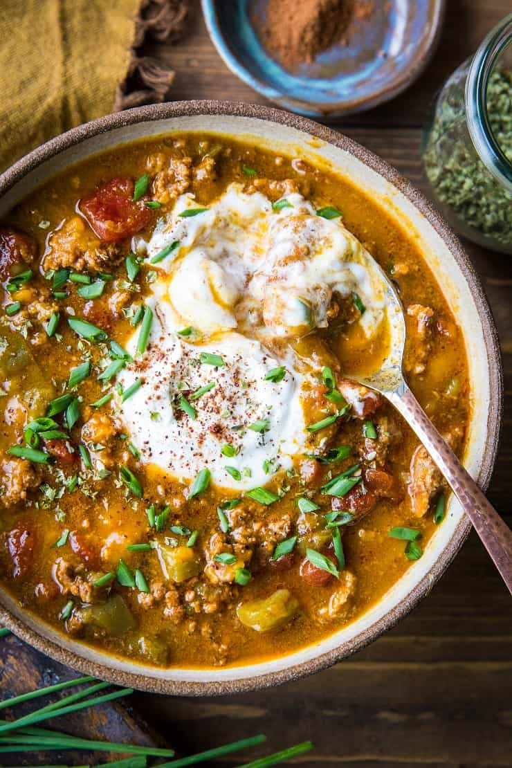 Instant Pot Paleo Pumpkin Chili - quick, easy, flavorful healthy hearty pumpkin chili perfect for the fall and winter months. | TheRoastedRoot.net #paleo #primal #instantpot #lowcarb #pressurecooker #pumpkin #glutenfree
