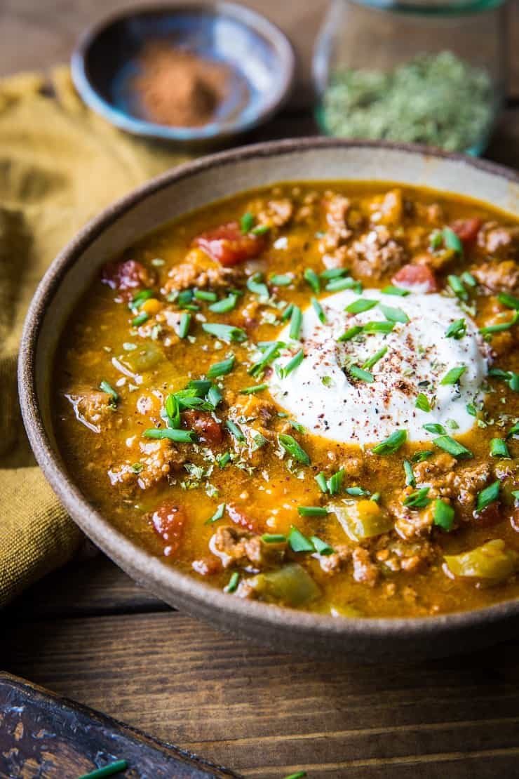 Instant Pot Paleo Pumpkin Chili - quick, easy, flavorful healthy pumpkin chili perfect for the fall months. | TheRoastedRoot.net #paleo #primal #instantpot #lowcarb #pressurecooker