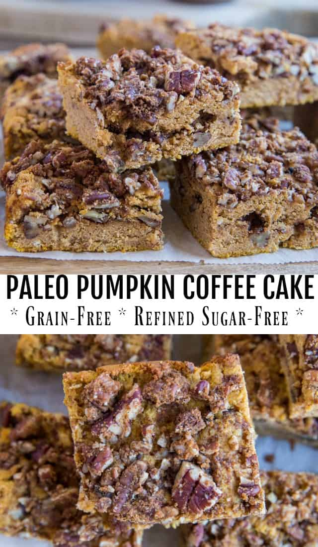 Paleo Pumpkin Coffee Cake - grain-free, dairy-free, refined sugar-free and gluten-free coffee cake recipe made with pecan streusel topping. A delicious fall treat! | TheRoastedRoot.com #dessert #breakfast #paleo